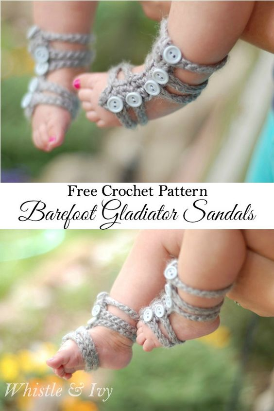 Free Crochet Pattern - These cute and easy barefoot gladiator sandals for baby are perfect for spring and summer! {Pattern by Whistle and Ivy}:
