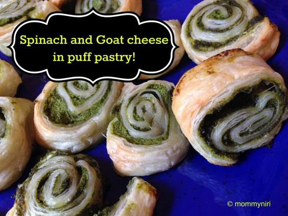 Spinach and Goat Cheese in Puff Pastry (RECIPE) | @Nirasha Jaganath: Appetizer Yum, Amex Gift, Cheese Puff, Recipes Appiteasers, Gift Cards, Appetizers Party Food, Appetizers Dips, Goat Cheese