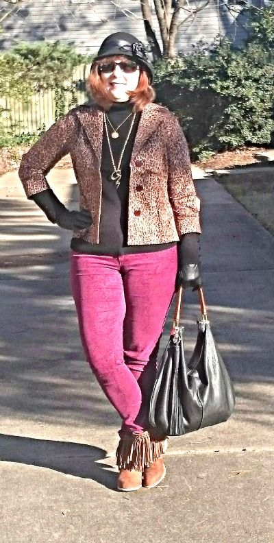 Burgundy and Leopard, Over 40 Fashion, Winter Outfit: