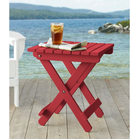 L.L.Bean Adirondack Wooden Folding Side Table ($149) ❤ Liked On Polyvore  Featuring Home