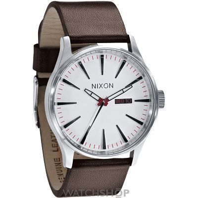 Mens Nixon The Sentry Leather Watch A105-1100
