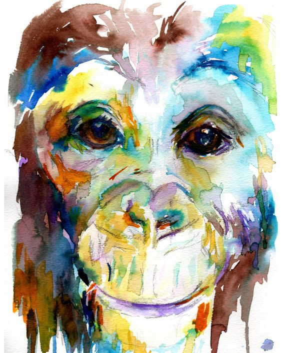 The old watercolors and cute baby monkey on pinterest for Cute watercolor paintings