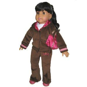 Brown Velour Sweatsuit, Fits 18 Inch American Girl Dolls