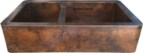 """Custom hammered European style copper apron sink with two bowls for a modern and traditional kitchen. It was custom handmade with two patina color options. If you live in the continental USA delivery is free and it takes about four weeks. Copper Apron Kitchen Sink """"Nashville"""" by Custom Made. #myCustomMade"""