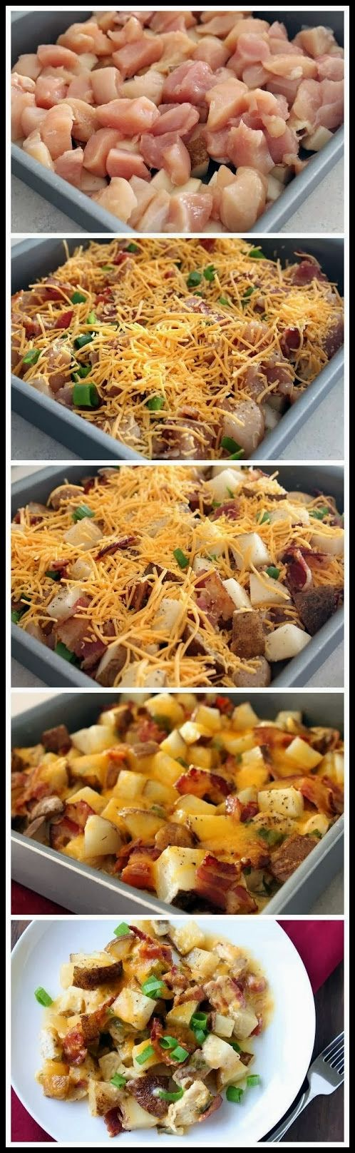 Loaded baked potato chicken casserole! This was delicious and without the cheese would be Whole30 compliant.
