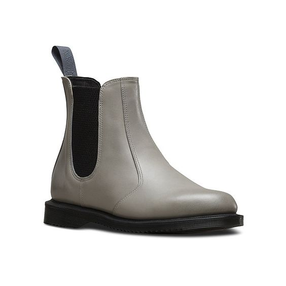 Dr. Martens Flora Chelsea Boot (€125) ❤ liked on Polyvore featuring shoes, boots, ankle booties, grey burnished servo lux, pvc boots, beatle boots, gray chelsea boots, grey ankle booties and gray booties