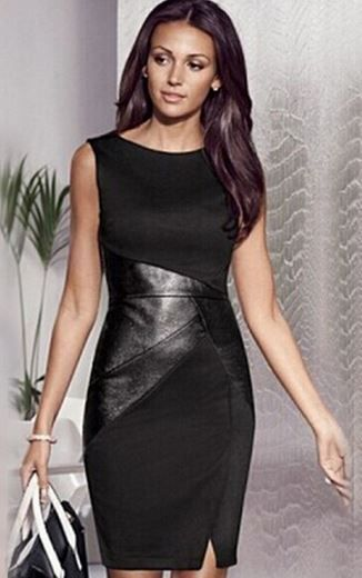 Love this Unique LBD Dress Design! Super Sexy Black Patchwork PU Leather Slim BodyCon Dress #Sexy #Unique #LBD #Little #Black #Dress #Fashion #Design