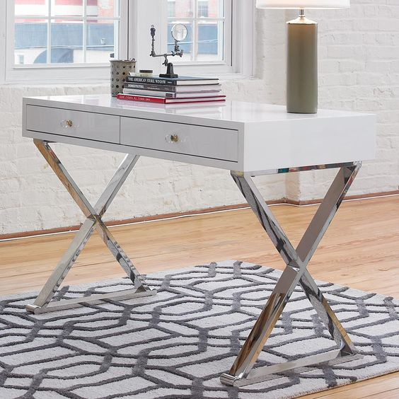 modern x desk available in 4 colors navy blue with gold white with gold navy blue with silver. Black Bedroom Furniture Sets. Home Design Ideas