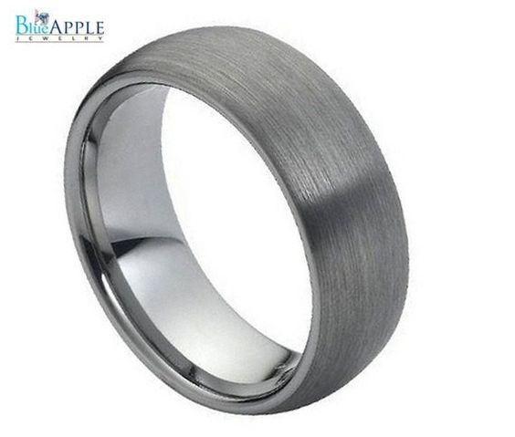 Half Round Domed Tungsten Brushed Finished Comfort Fit 8mm His Hers Wedding Engagement Anniversary Unisex Ring