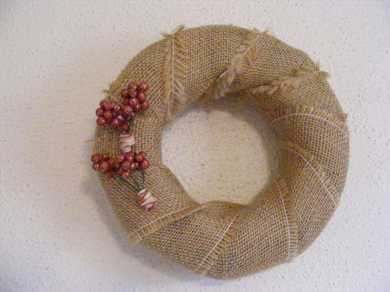 Burlap Berry Wreath  #christmas #thecraftstar #unique $15.00