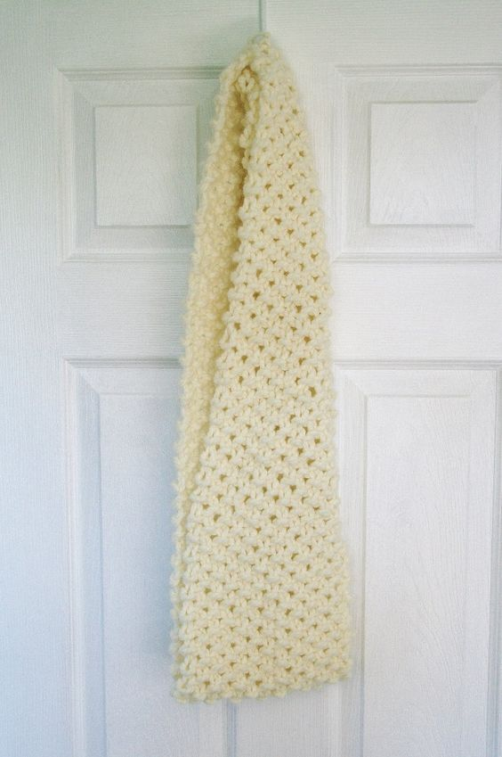 "Hand knit infinity scarf.  Acrylic wool blend. Off white, cream colour. 52""x 8"". Ready to ship. by RosenLilyCreationz on Etsy"