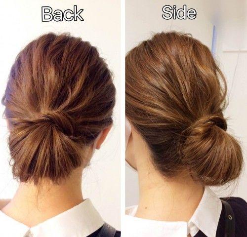 髪ゴムだけでヘアアレンジ 簡単まとめ髪 セレブシニヨン の作り方 簡単 まとめ髪 セミロング まとめ髪 シニヨン 簡単
