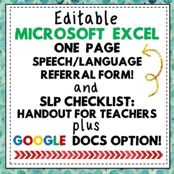 Speech Language Pathology Referral Form + IEP Goal Info Ch - referral form