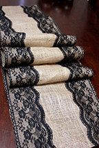 Burlap and black lace table runner by RainBootsinJuly on Etsy, $28.00