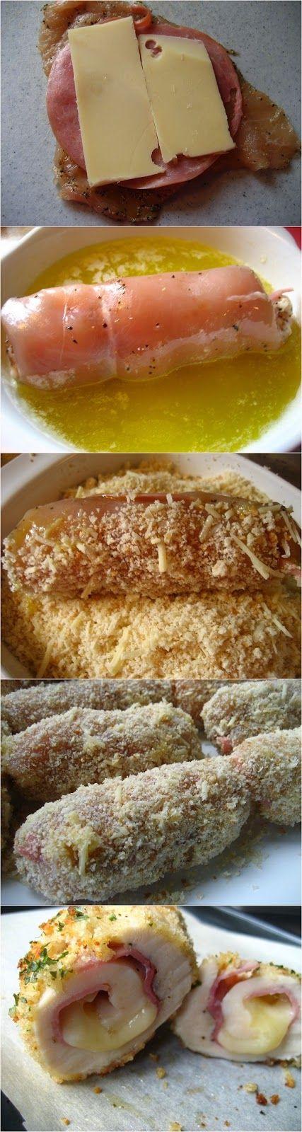¡Fácil y deliciosa receta de gordon blue! Sólo necesitarás filetes de pechuga de pollo, rebanadas de jamón y queso amarillo para el relleno y un par de huevos batidos y pan rallado para empanizarlos.