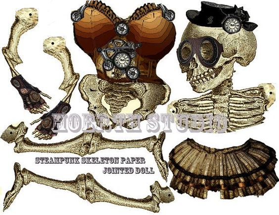Halloween Steampunk DIY skeleton paper jointed doll  with skull instant download on Etsy, $3.50