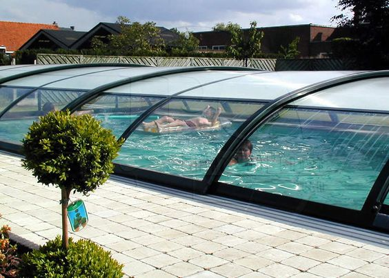 In Ground Pool With Retractable Cover Pool Enclosures