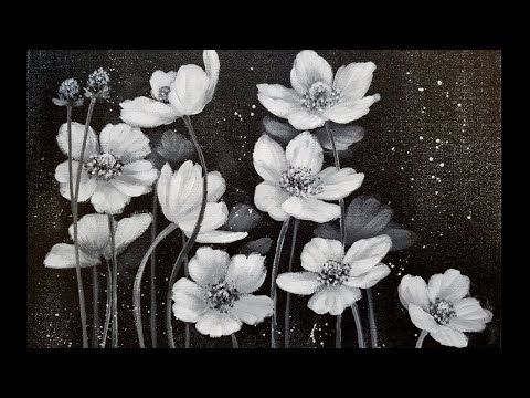 Learn How To Paint Beautiful Flowers In Black And White Using Acrylic Paints Art Instruction Blog Simple Acrylic Paintings Painting Tutorial Painting