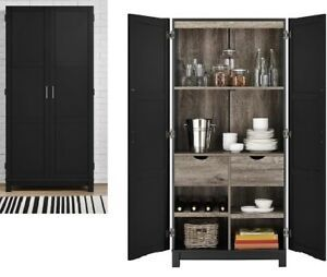 Details About Tall Black Storage Pantry Cabinet Cupboard 2 Door Wood Kitchen Bathroom Office Cabinet Cupboard Pantry Cabinet Storage Furniture