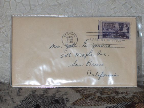 http://ajunkeeshoppe.blogspot.com/  First Day Issue/Cover-Stamp-California Gold Centennial 1948 3c 8ozP724B4HP1156