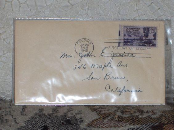 http://ajunkeeshoppe.blogspot.com/  First Day Issue/Cover-Stamp-California Gold Centennial 1948 3c 8ozP724B4HP1156