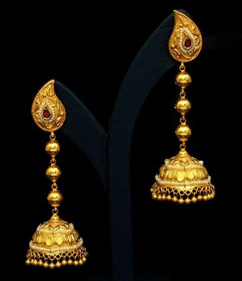 Designer Indian Earrings: Vbj-earrings-jhumka-buttalu-gold