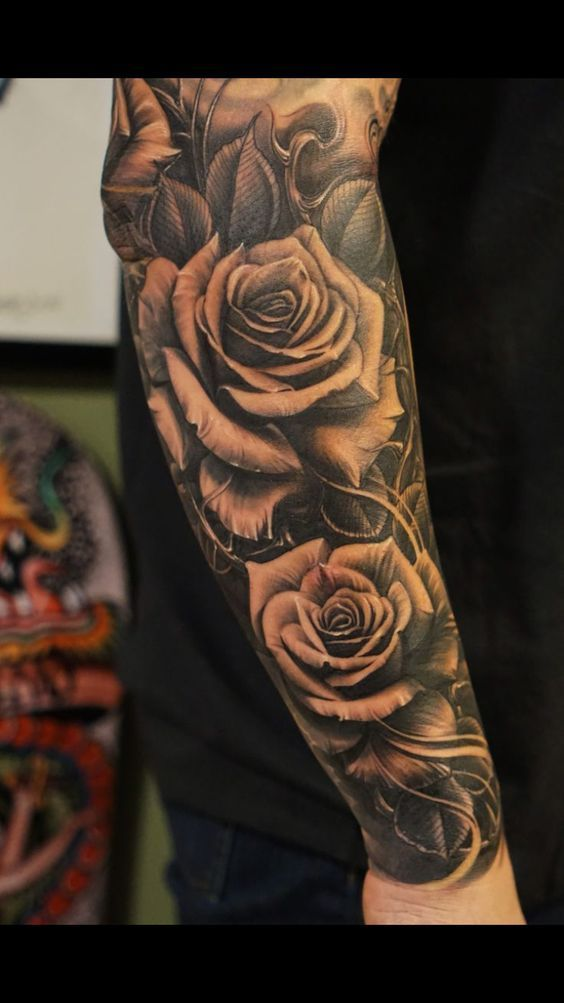 Awesome Sleve Rose Tattoos For Men Rose Tattoos For Men Cool Forearm Tattoos Rose Tattoo Sleeve