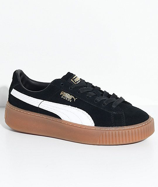 PUMA Suede Platform Black, White & Gum Shoes | Puma suede