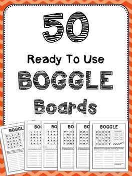 50 ready to use Boggle boards - just print and go!Ways to use Boggle:- Daily 5 Word Work time- Early finishers- Spelling/Word Work Homework - Rainy Day Indoor Recess Challenge- Morning Warm-up- Buddy Classroom Activity- Your own detox after a long day :)--------------------------------------------------------------------------------------------Like what you see in my store?