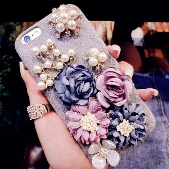 Glitter 3D Pearl Rhinestone Flower Soft Silicone Case for iPhone 8 Plus / 7 Plus