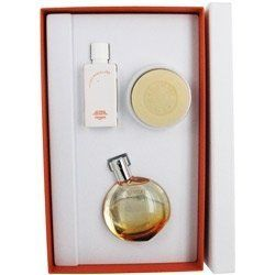 Eau des Merveilles by Hermes, 3 piece gift set for Women by Hermes. $72.00. Product:Eau des Merveilles. Design House:Hermes. This gift set includes a 1.6 oz Eau De Toilette Spray, a 1.7 oz Marvelous Body Soap, and a 1.35 oz Marvelous Body Lotion. Scent: elemi, bitter orange, Italian lemon, Indonesian pepper and pink pepper.. Save 24%!
