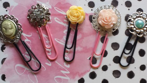 Jumbo Paper Clips/ Planner Clips/Accessories/ Bookmakers/Planner Decor/ Reminders/  Chic/ Rose/  Embellishments/ Black/ Pink/ Gift Item by RedRibbonReminder on Etsy
