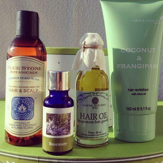 Hair Care Gift set:  1. Oil for fast hair growth  2. Coconut & Frangipani Hair Revitalizer  3. Hair & Scalp Tonic  4. Rosemary Essential Oil