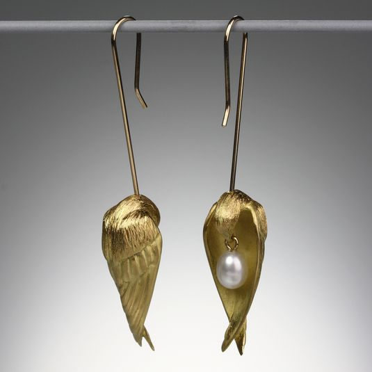"A pair of 18K yellow gold sleeping birds with small white pearls, measuring approximately 1 7/8""."