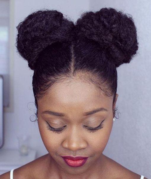 50 Best Eye-Catching Long Hairstyles for Black Women | Bun updo ...