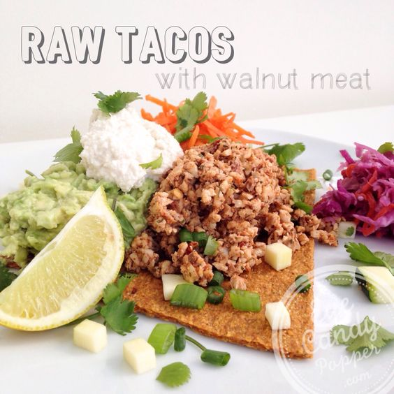 Raw tacos with walnut meat and cashew sour cream (vegan, raw, paleo, gluten-free) Delicious!