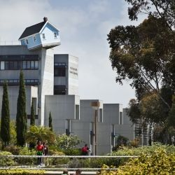 Incredible cottage house built seven stories high, suspended off college campus in San Diego.