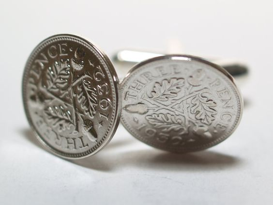 1932 Silver Threeepence Cufflinks 82nd by OldCoinCufflinks on Etsy, $19.99