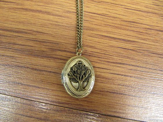 the brass tree jewelry little locket necklace Antique by yajuntime, $3.40