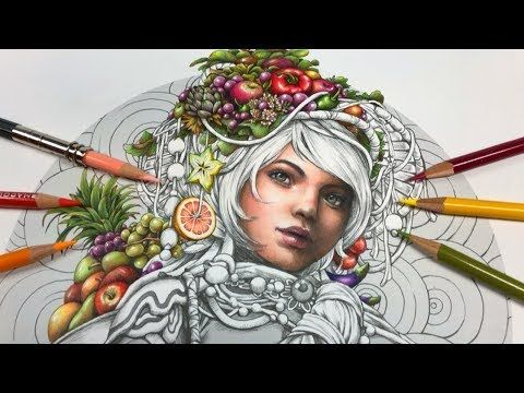 Skin Coloring A Girl With Fruits Part 1 Serene Coloring Book Youtube Coloring Books Colored Pencil Coloring Book Coloring Book Art