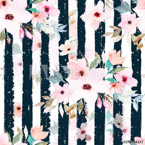 Yeele 9x9ft Watercolor Rose Flower Photography Background Cartoon Style Green Leaf Black and White Horizontal Stripe Photo Backdrop Shoot Vinyl Studio Props