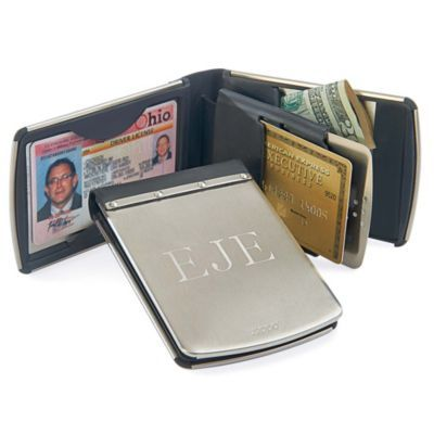 Trendy, rugged Zippo® Personalized Stainless Steel Wallet keeps money & cards safe.