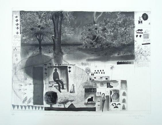 Paulo Lisboa - Anotações de uma paisagem entardecida por um pincel. gravura em metal