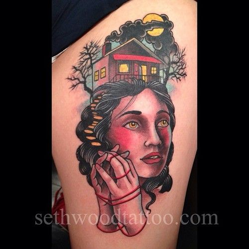 Tattoo by Seth Wood  great idea for my witch tattoo...place a gothic victorian house in her conical hat!