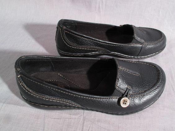 Women's Clarks Bendables Boat Shoes Black Size 6 W Slip-on Leather Medium #Clarks #BoatShoes
