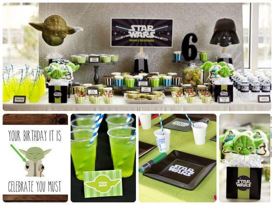 Ideas para una Fiesta de Star Wars!...en colores verde, blanco y negro!...#starwars #ideas #ideasfiesta #partyideas #celebracion #ideascelebracion #starwarsparty
