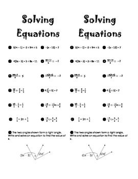 Printables Solving Equations Practice Worksheet fractions equation and solving equations on pinterest i used these questions to supplement my lessons multi step equations