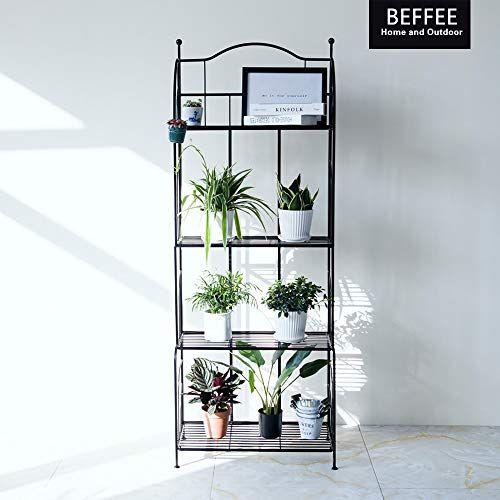 Beffee Metal Shelves For Kitchens Black 4 Tier Bakers Rack Shelf