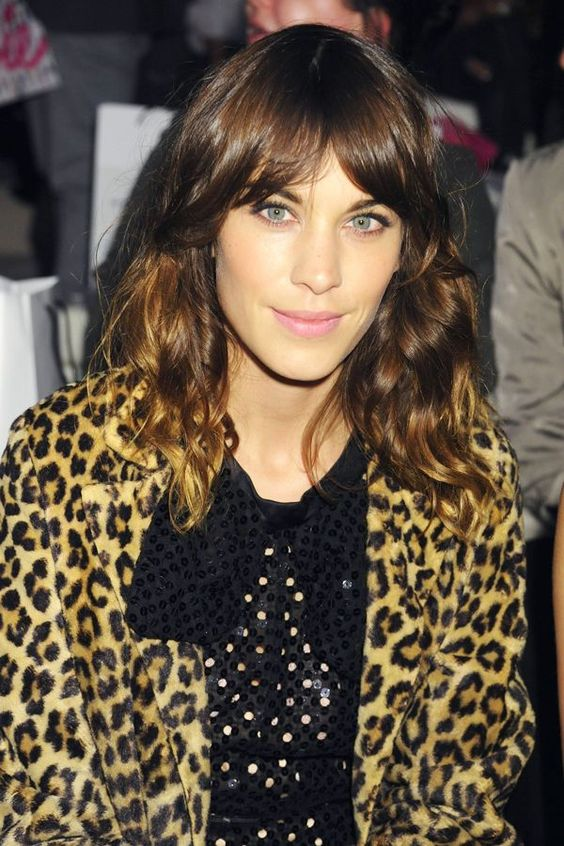 Read This Before You Get Bangs #refinery29  http://www.refinery29.com/should-i-get-bangs#slide-6  Face-Framing: Alexa Chung  These sorts of bangs often look like they've grown out, which is part of their effortless appeal. They also blend seamlessly into layers and can create the illusion of thicker hair for finer types. With longer fringe, start by blowdrying with a paddle brush, and then add a subtle bend by switching to a medium round brush when hair is nearly dry, says...