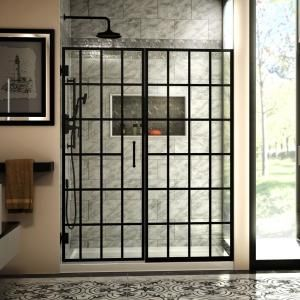 Dreamline Unidoor Toulon 58 58 1 2 In W X 72 In H Frameless Hinged Shower Door In Satin Black Shdr 2458720 89 The Home Depot Shower Door Designs Frameless Hinged Shower Door Black Shower Doors